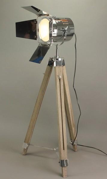 Beauty.Scouts Studioleuchte Stehlampe Lampe Leuchte Holz Metall - H140cm