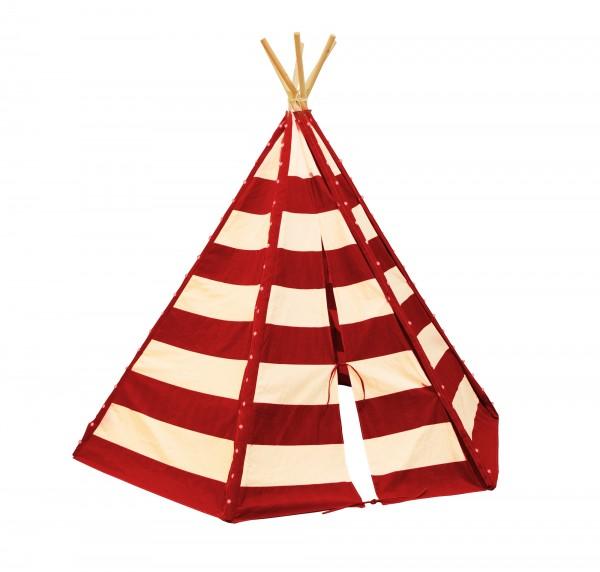 "Tipizelt ""Abey"" rot-weiß aus Baumwolle + Hemlock Holz 173x200x178cm Kinderzelt"