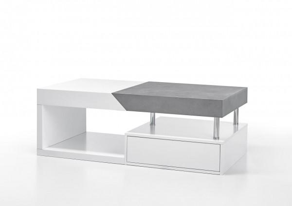 """Couchtisch """"Bologna"""" - Tisch Matt weiss und Beton Dekor Schublade 120x42x60 40 kg"""