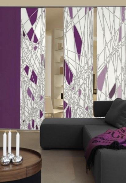 Emotion Textiles Flächenvorhang Schiebevorhang Labyrinth 3-er Set incl. Montagesatz in Petrol oder V