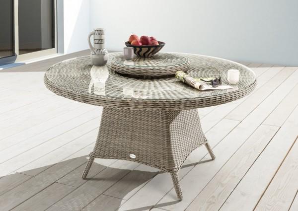 """Tisch """"Honey"""", vintage weiß, 150 Ø x 76 cm, mit Glasplatte + Drehscheibe, Gartentisch, Garten"""