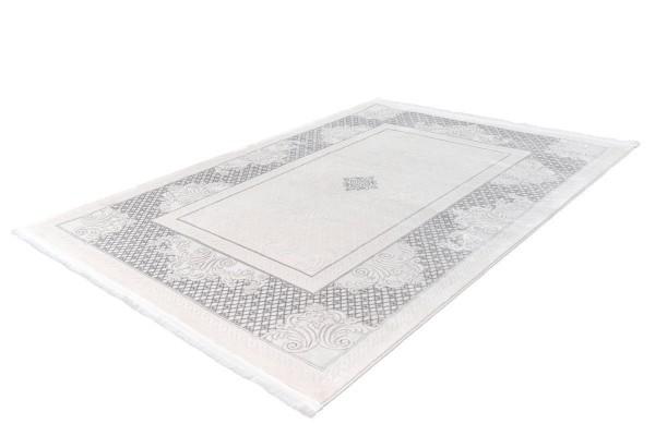 """Kurzflorteppich """"Zerda"""" silber mit Fransen 80x150cm 120x170cm 160x230cm 80x300cm 200x290cm Teppich"""