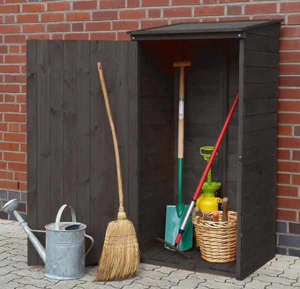 """Gartenschrank """"Idefix"""" Kiefernholz anthrazit 72,5x68,6x148cm Geräteschrank Outdoorschrank"""