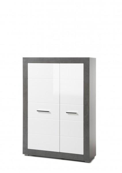 """Stauraumelement """"Tolero"""", Dark Concret/weiß Hochglanz, 100 x 142 x 35 cm, Wohnzimmer, Schrank"""