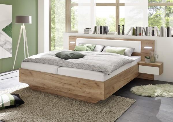 """Bett """"Touch I"""" Schlafzimmer Weiß matt/ Eiche Kraft Gold Dekor 276x93x209cm Bettset Bettanlage"""