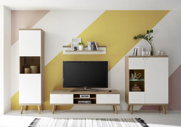 """Wohnwand """"Scandic II"""", Eiche Riviera NB/weiß matt, 4er-Set, 320 (300) x 197 x 19 - 40 cm, Wohnzimmer"""
