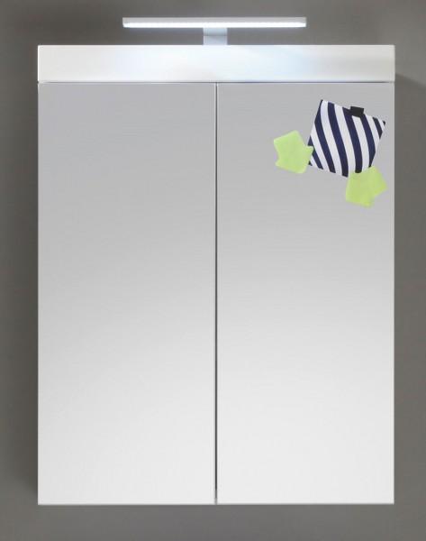 """Spiegelschrank """"Egedal"""", Badezimmer HG Weiss mit oder ohne Beleuchtung Spiegeltüren MDF 60x77x17cm"""