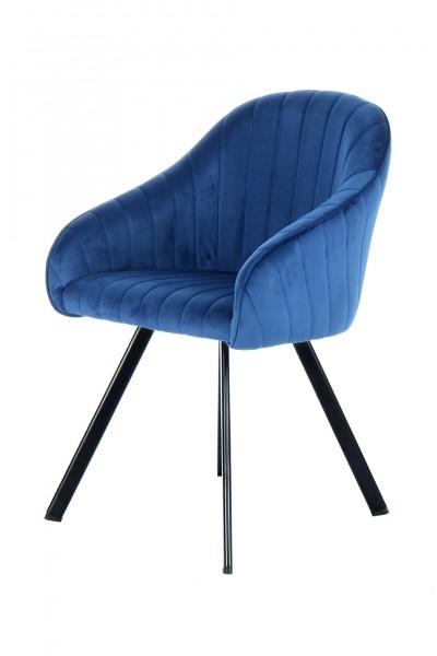 "2er Stuhl ""Emma"" dunkelblau 59x56x86cm weicher Stoffbezug idealer Sitzkomfort Sessel"