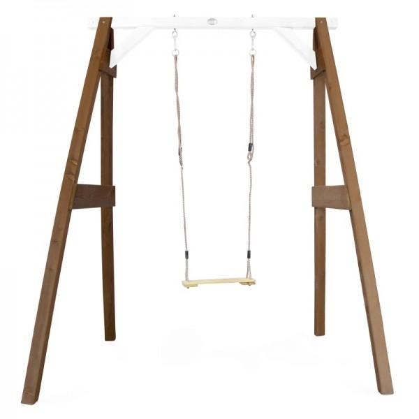 "Schaukel ""Mao III"" Hemlock Holz braun-weiß 160x181x207cm Einzelschaukel Holzschaukel Gartenschaukel"