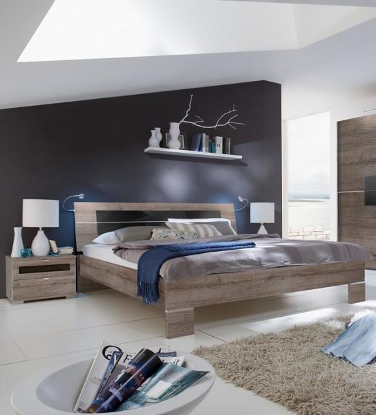 "Bett Set ""PRIME"" - Bett 160x200cm 180x200cm 2x Nako´s Alpinweiss Schlammeiche"