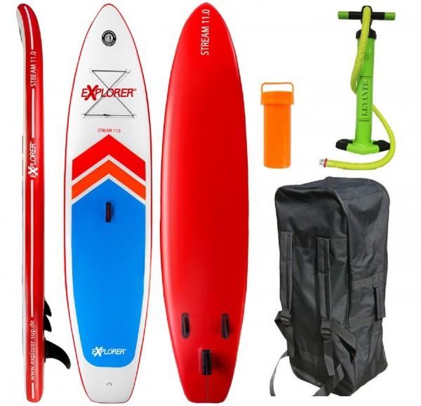 "Stand-Up-Paddle ""Adventure Sport No.1"" rot blau weiß 335x75x15cm SUP Paddling"