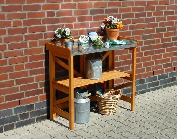 """Pflanztisch """"Jim"""", Kiefer, honigbraun, 97 x 45 x 88cm, Blumenpflanztsich, Gartenarbeitstisch, Garten"""