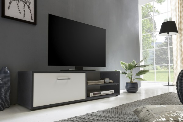 """TV-Lowboard """"Frank 9"""", graphit/weiß, 120 x 34 x 37 cm, 1 Klappe, 2 offene Fächer"""