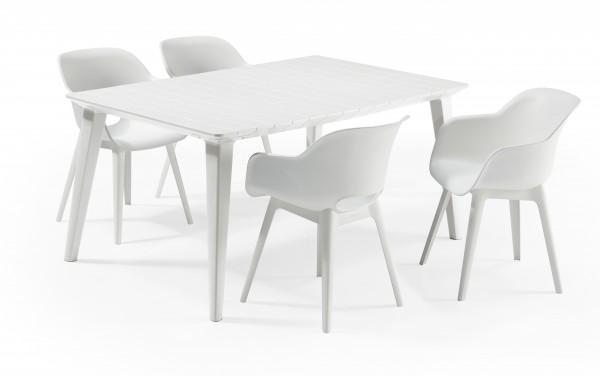 """Garten-Essgruppe """"Inti"""" 5-tlg. Kunststoff in weiss Tisch 4x Sessel Sitzgruppe Dining Gruppe"""