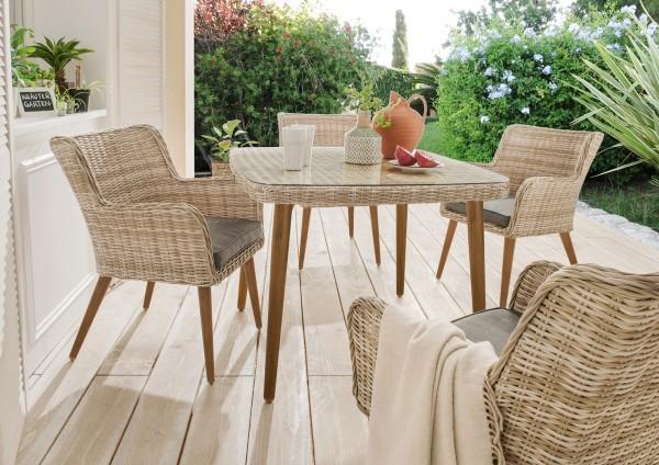 """Tisch """"Santos"""", beige/weiß, 100 x 100 x 75 cm, Beine holzfarben, Gartentisch, Balkontisch, Garten"""