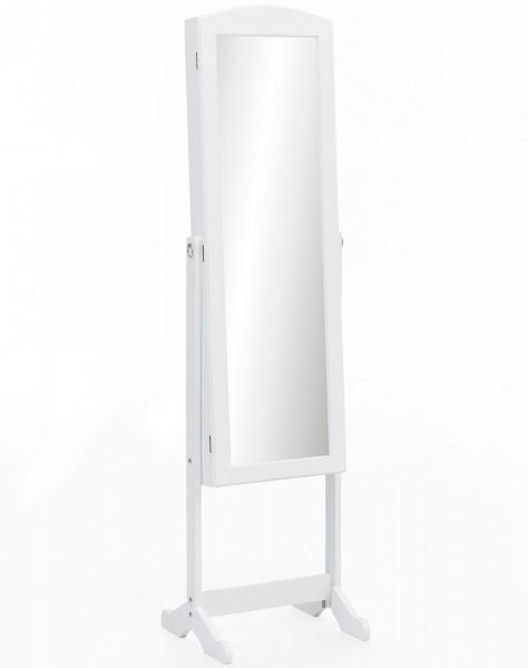 """Schmuckschrank """"Palina"""" weiß lackiert mit Spiegel 41x160x38cm Kosmetikschrank"""