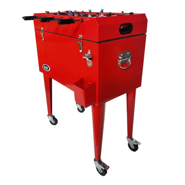 """2 in 1: Kühlbox + Tischkicker """"Goal"""" rot auf Rollen 69 x 37 x 94 cm Multifunktionskühlbox Fußbalkicker"""
