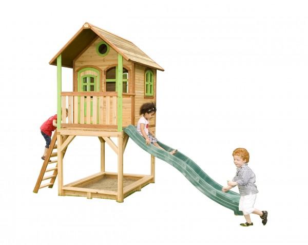 """Holzspielhaus """"Wicki"""" mit Veranda + Rutsche + Leiter + Sandkasten 172x370x291cm aus Zedernholz in braun"""