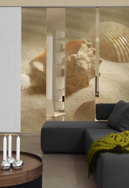 Emotion Textiles Schiebevorhang Flächenvorhang Muscheln 3-er Set incl. Montagesatz
