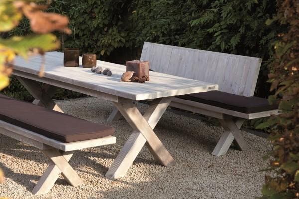 "Designer Sitzgarnitur ""Viktoria I"", Holz, 3er-Set, Gartenmöbelset, Lehnenbank, Bank, Tisch"