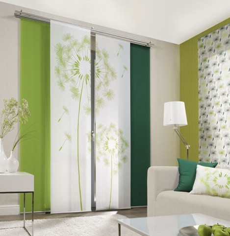 Emotion Textiles Flächenvorhang Schiebevorhang Löwenzahn Grün 2-er Set incl. Montagesatz