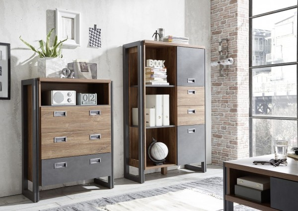 "Highboard, Sideboard, Wohnzimmer, Esszimmer, Industrie ""Java Livin I"" Beauty.Scouts, Stirling oak, Kommode"