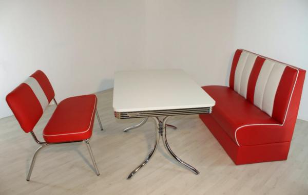 """Tischgruppe Set """"Midgar I"""" Diner Set rot/weiss Vierfuss-Bistrotisch Sitzbank Polsterbank Essgruppe"""