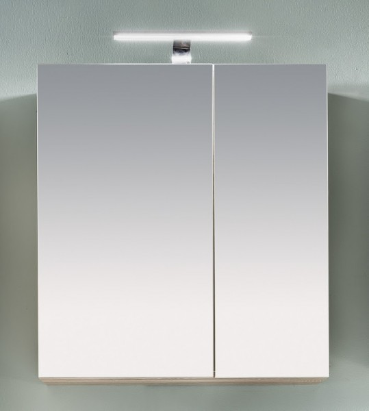 """Spiegelschrank """"Ines"""", Eiche sägerau/weiß Melamin, Badezimmerschrank, 65 x 70 x 21 cm"""