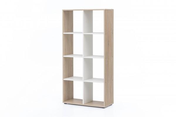 """Regal / Raumteiler """"Amadeus"""", Eiche sägerau/weiß, 70 x 142,5 x 29 cm, 8 Fächer, Wohnzimmer, Regal"""