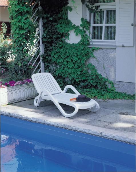 "Stapelliege ""Tim"" 71x195x30/40cm Kunststoff weiss/grau Gartenliege Gartenmöbel Sonnenliege Garten"