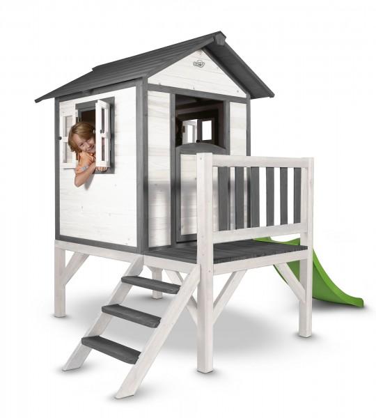 """Holzspielhaus """"Sun XL"""" mit Leiter + Rutsche 168x261x189cm aus Zedernholz in grau-weiß"""