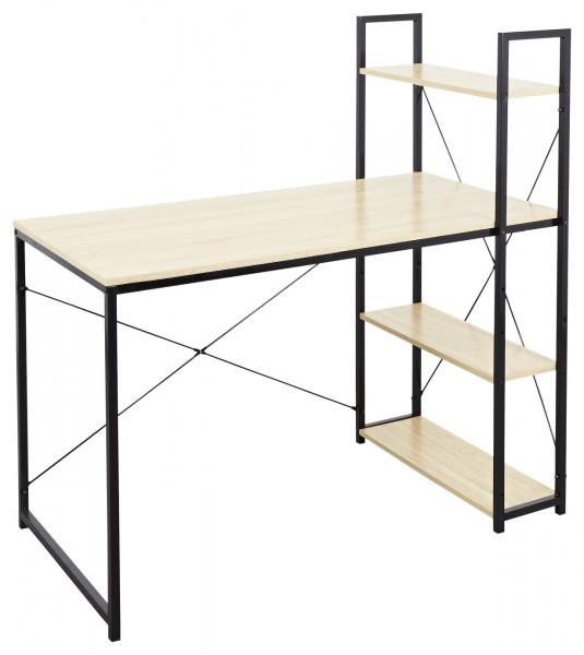"""Schreibtisch """"Lasse"""" Sonoma Eiche Holznachbildung 120x64x120cm Arbeitstisch mit Regal"""