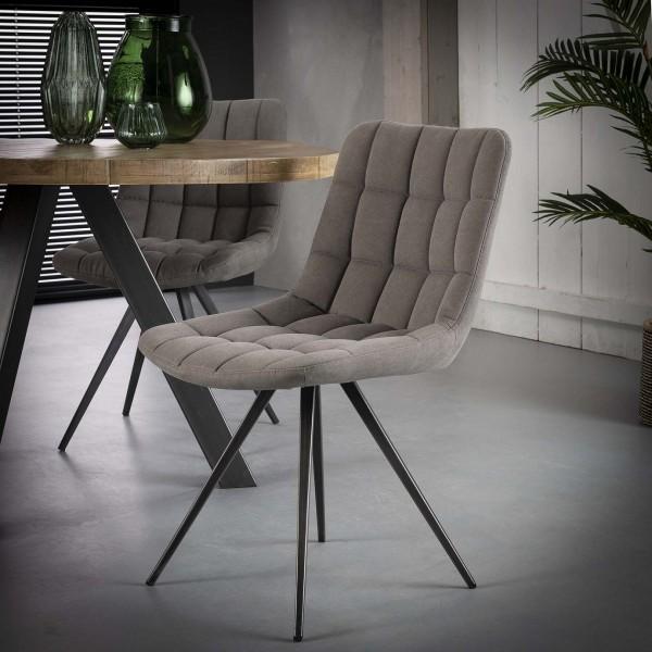 """2er Set Stuhl """"Andigo"""" anthrazit Jeansstoff Stahlgestell 46x61x82cm (B/T/H) Esszimmerstuhl"""