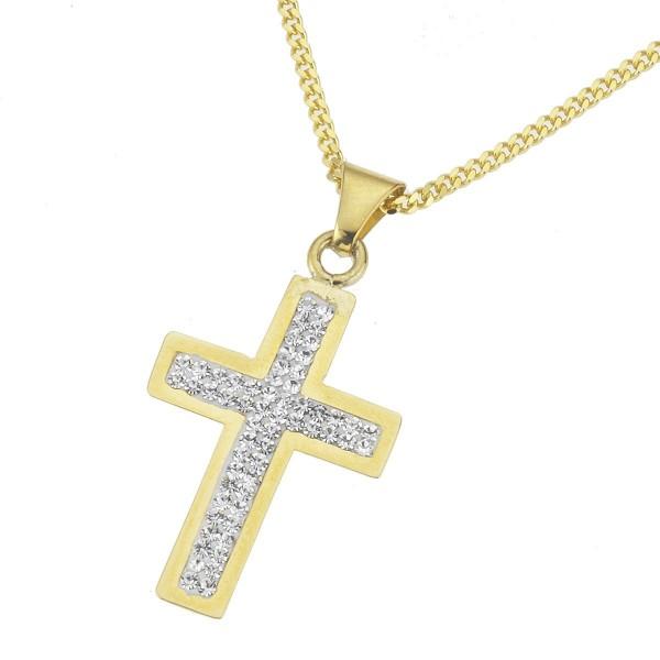 Crystelle - Anhänger/Kette 45/42cm, Kreuz mit Swarovski Kristallen weiss
