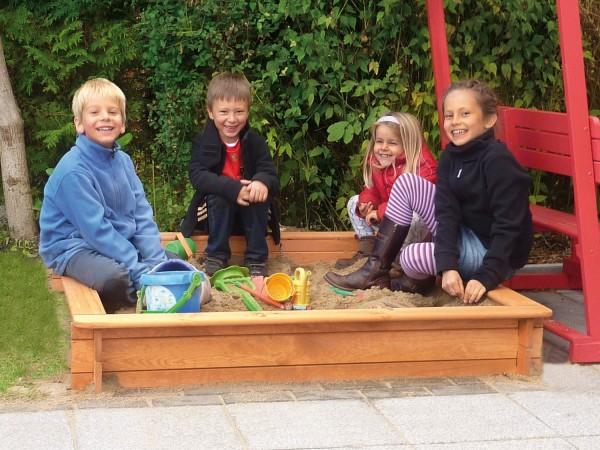 """Sandkasten """"Ingo"""", Kiefer, honigbraun, 100 x 100 x 22 cm, Kindersandkasten, Kinder, Garten"""