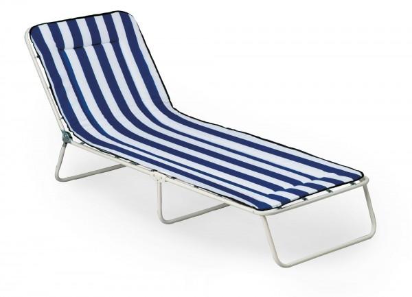 """Campingliege """"Toni"""" weiß/blau-gestreift 60x180x23cm Gartenliege Gartenmöbel Sonnenliege Klappliege"""