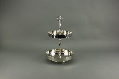 """Etagere """"Crown"""" 2-stöckig vernickelt, H48 cm"""