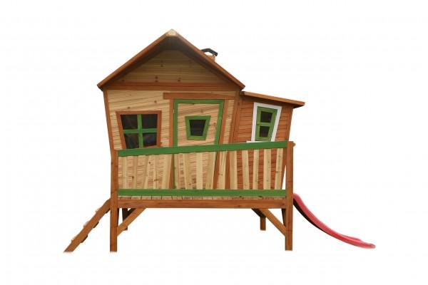 """Holzspielhaus """"Vinna"""" mit Veranda + Rutsche + Leiter 193x349x227cm aus Zedernholz in braun"""