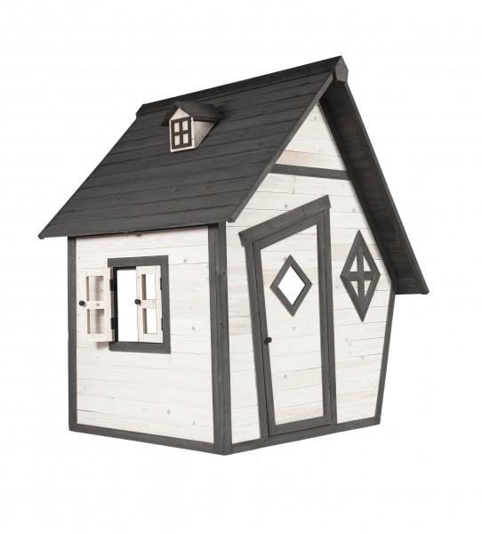 """Holzspielhaus """"Valka"""" 102x127x164cm aus Zedernholz in grau-weiß"""