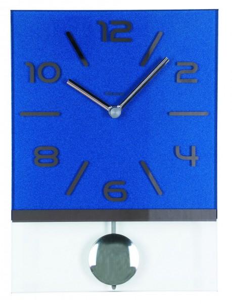 """Wandpendeluhr Quartzuhr """"Kendra"""" Blau, Pendel, Mineralglas, lackiert, bedruckt, Esszimmer, 20x30x5-"""