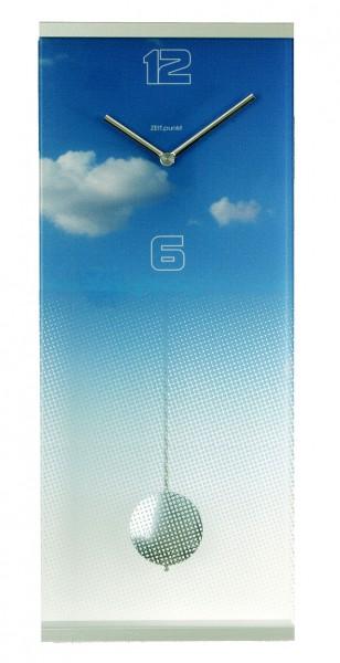 """Wanduhr Pendeluhr """"Sky"""" Glas, Küche, Wohnzimmer, Diele/Flur, 58x24 cm, in Blau"""