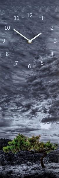 """Wanduhr Quartzuhr """"Kiefer"""", MDF Uhr blau Himmel Wolken 60x20x5 cm"""