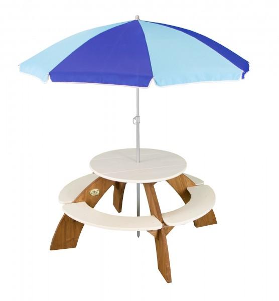 """Picknick-Set """"Luis"""" aus Zedernholz mit Sonnenschirm in braun 141x141x62cm Picknicktisch"""
