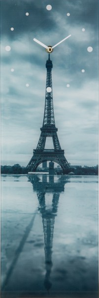 "Spiegelprofi 78545002 Glasuhr Kai X Wanduhr ""Paris"" Glas, 20x60 cm, Glasuhr"