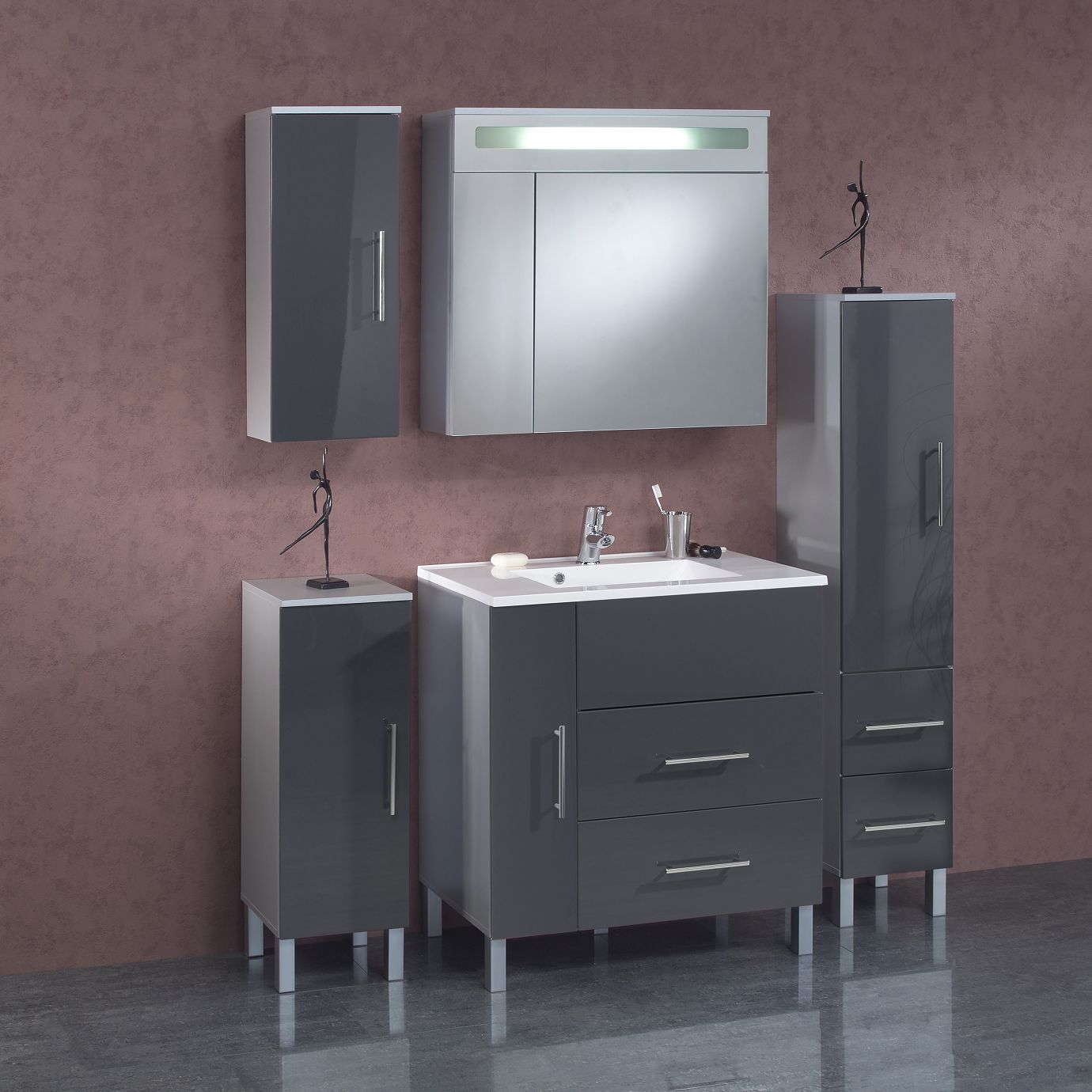 """Badezimmerset 8 """"Hulda"""" 5tlg Badschränke und Spiegelschrank mit"""