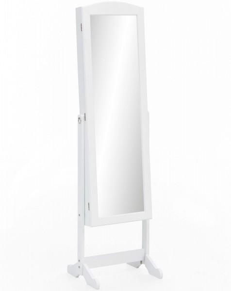 """Schmuckschrank """"Mariella"""" weiß lackiert mit Spiegel 42x156x38cm Kosmetikschrank"""