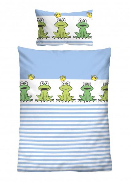 """Beauty.Scouts Linon Bettwäsche """"Frosch"""", blau, Kinderbettwäsche, Baumwolle, Bettwäsche, Schlafzimmer"""