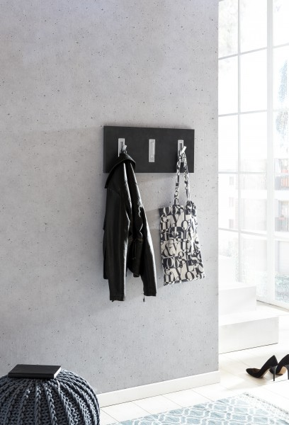 "Garderobenpaneel ""Lilo"", grafit, 3 Garderobenhaken, 60 x 26 x 2,2 cm"