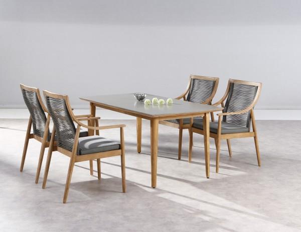 """Gartengruppe """"Mio"""" 5-tlg. Grandis/grau Tisch 170x90cm 4xSessel Sitzgruppe Gartenmöbel Outdoor"""