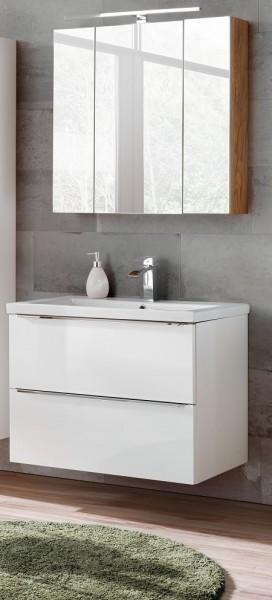 "Badmöbelset ""Melbourne VII"" weiß  3-teilig, Badezimmerset, Badezimmer inkl. Beleuchtung modern"